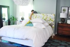 Young House Love blog. How to make your own, simple headboard for ~sixty-six US bucks. Will look into this...