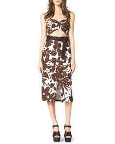 B2FVA Michael Kors  Strapless Cutout Floral-Print Dress