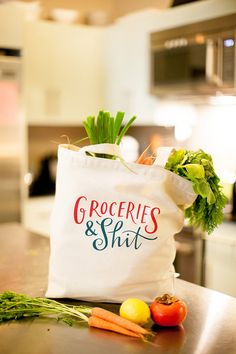 Groceries & Sh*t Tote Bag Large, Sturdy, Heavyweight Canvas Grocery Bag