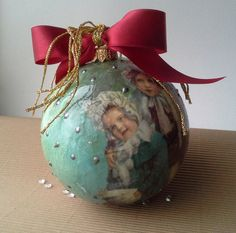 Christmas baubles are decorated with #decoupage technique and then repeatedly varnished. After varnishing, balls are additionally decorated. These ornaments will add charm t... #housewares #holidays
