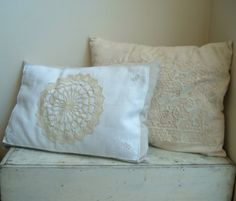 antique linens used for pillows