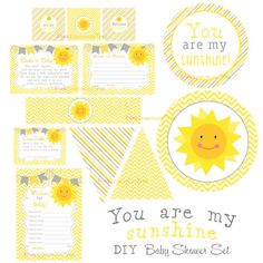 You Are My Sunshine Baby Shower Set Yellow And By PinkLemonadeTree
