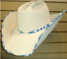 ❤ Cowgirl Beautiful Custom Bone (with beading) Western Cowboy Hat from Shorty's Hattery Custom Cowboy Hats, Western Cowboy Hats, Cowgirl Hats, Cowgirl Bling, Cowgirl Style, Western Wear, Cowboy Boots, Cowgirl Tuff, Cowgirl Jewelry