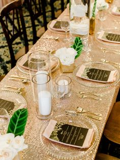 Hollywood Glam Wedding with an Unexpected Tropical Twist photography by Ashley Slater Photography Wedding Ceremony Arch, Wedding Table, Reception Decorations, Wedding Centerpieces, Banquet Tablecloths, Old Hollywood Wedding, Wedding Linens, Sweetheart Table, Wedding Events