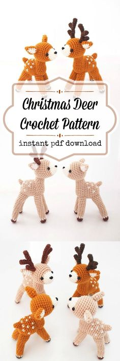 Christmas Deer Crochet pattern. These cute little deer would be great holiday toys or winter decorations. #etsy #ad #amigurumi #crochet #pattern #stuffy #child #reindeer #santa #winter