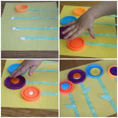 So cute and easy for little hands! Recycled Lid Flower Craft | Family Your Way