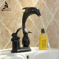 Luxury Oil Rubbed Bronze Black Jump Dolphin Style Single Handle Bathroom Vessel Sink Basin Faucet Mixer Taps MD-194R