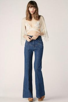 Waiting For The Sun Bells in Filmore – Stoned Immaculate Clothing 70s Inspired Fashion, 70s Fashion, Denim Fashion, Vintage Fashion, Fashion Outfits, Womens Fashion, Fashion Trends, Fashion 2018, Fashion Styles