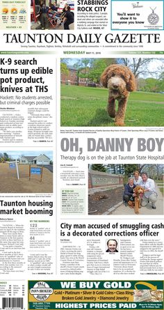 The front page of the Taunton Daily Gazette for Wednesday, May 11, 2016.