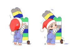 V and tiny Yeontan V Chibi, Cute Chibi, Anime Chibi, Bts Facts, Bts Drawings, Anime Kawaii, Bts Group, Bts Photo, Bts Boys