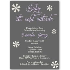 Baby It's Cold Outside Purple Baby Shower Invitation - Invite guests to your girl baby shower with this simple winter themed invitation featuring snowflakes and decorative purple lettering on a gray background. Baby Shower Purple, Baby Shower Winter, Purple Baby, Its Cold Outside, Winter Theme, Baby Shower Invitations, Babyshower Invites, Pottery Barn Kids, White Envelopes