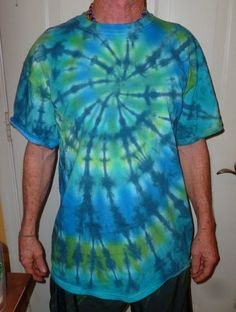 Tie Dyed T-Shirt-Size Large  Greens and Blues Spiral Design #dailyestysales