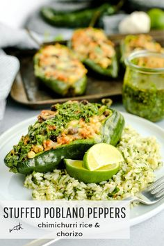 Celebrate National Rice Month with these Stuffed Poblano Peppers with Chimichurri Rice and Chorizo! Check out the full recipe on Street Smart Nutrition and get a step-by-step guide to making these flavorful stuffed poblano peppers Healthy Dinner Recipes, Appetizer Recipes, Mexican Food Recipes, Real Food Recipes, Ethnic Recipes, Chilli Recipes, Weeknight Recipes, Healthy Dinners, Gourmet Recipes