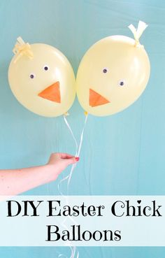DIY Easter Chick Balloons are an adorable Easter decorations and fun for Easter pictures with kids.