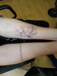 Paris metro map tattoo and GPS coordinates of grandma's house
