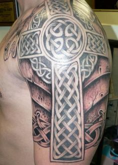 Irish Celtic Tattoo | Armor Tattoo | Cross | Shoulder | Knot Work