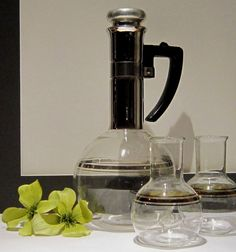 Mid Century Inland Glass Coffee Carafe with Two Single Serve Silex Carafes