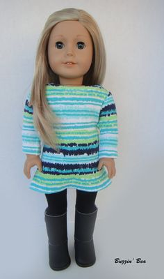Long Sleeve Dress and Black Tights - American Girl Doll Clothes on Etsy, $20.00