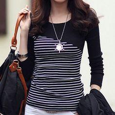 Fashion Women Girls Long Sleeve Stripe T-shirt Korean Casual Fashion Tops - Ideas of Korean Fashion Women Style Casual, Casual Outfits, Fashion Outfits, Fashion Women, Casual Shirt, Women's Casual, Fashion Clothes, Korean Fashion Casual, Korean Casual