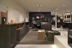 Showroom – SESSANTA executive desk, low cabinet and coffee tables by Prof Office