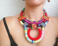 Statement necklace Bib necklace OOAK Ethnic by UtopiaManufactory