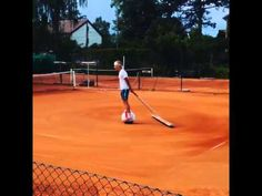 With airwheel in the tennis court!