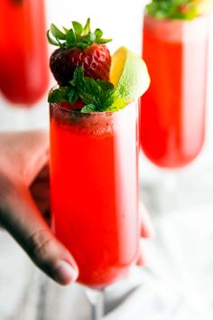 A refreshing yet decadent drink, this Strawberry Lime Champagne Cocktail is just about the best thing to serve at your next brunch get-together! It has only three ingredients - super quick and easy to make! | savorynothings.com