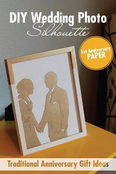 Create this DIY Wedding Picture Silhouette for a traditional first anniversary gift using paper! | Anyone can make a stunning silhouette using one of your favorite wedding photos and an exacto knife. Find out how to make it here + 10 additional paper gift ideas!