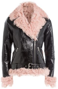 Sandy Liang Leather and Shearling Biker Jacket Rockabilly Jeans, Sandy Liang, Bohemian Lifestyle, Shearling Jacket, Jackets Online, Boho Fashion, Women Wear, Biker, Coat