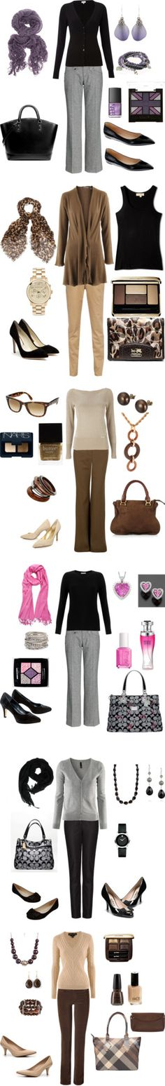"""Business Casual - Fall/Winter"" by mar6732 on Polyvore  six outfits scarf sweater heels flats"