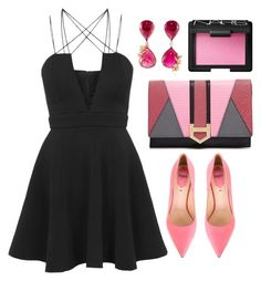 LBD + Pink by cherieaustin on Polyvore featuring polyvore fashion style Rare London Fendi Milly NARS Cosmetics clothing topshop NARS fendi milly vanleles