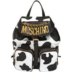 MOSCHINO Cow Motif Nappa Leather Backpack (1 950 BGN) ❤ liked on Polyvore featuring bags, backpacks, accessories, borse, moschino, backpacks bags, logo bags, moschino bag and padded backpack