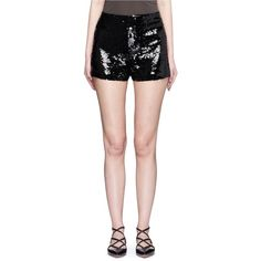 Alice + Olivia 'Sherri' sequin shorts ($335) ❤ liked on Polyvore featuring shorts, black, fitted shorts, party shorts, embellished shorts, high waisted sequin shorts and alice olivia shorts