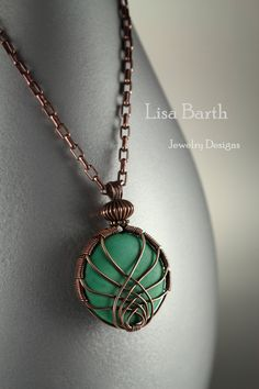 Copper and Turquoise Criss Cross Wrap Pendant by LisaBarthJewelry