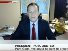The BBC dad gave another interview from his office  but he remembered to lock the door this time