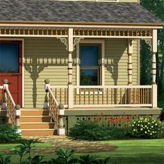 Can we put a porch skirt like this around the front porch, even though it has basement under it? farmhouse illustrated in olive green scheme with focus on the porch skirt