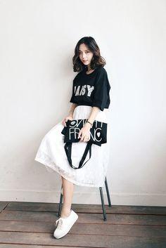 Pattern Layer Long Skirt | Korean Fashion