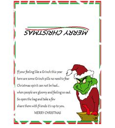 7 Best Images of Grinch Pills Printable Tags - Grinch Pills Poem Printable, Grinch Poop Poem Printable and Grinch Stole Christmas Free Printables Cupcake Toppers Christmas Treat Bags, Grinch Christmas Party, Grinch Who Stole Christmas, Grinch Party, Christmas Candy, Christmas Holidays, Christmas Crafts, Christmas Decorations, Xmas