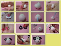 More-ish Cupcakes: lil Cow Face Cupcake Topper is too cute! Cow Cakes, Farm Cake, Fondant Animals, Animal Cakes, Polymer Clay Animals, Modeling Chocolate, Fondant Tutorial, Fondant Toppers, Sugar Craft