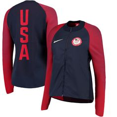 e8f2dfee8aad Nike Team USA Women s Navy Medal Stand Full-Zip Jacket. FansEdge. Nike  Running Shoes ...