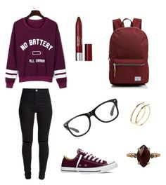 """Cheerwine"" by smileykylie1018 on Polyvore featuring WithChic, New Look, Converse, Revlon, Herschel Supply Co., Pieces and Chan Luu"