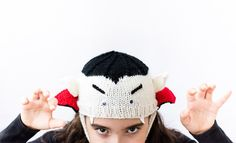 Halloween Kids Cap knitting pattern | Off-white / Black / Red #katiayarns