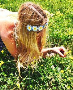 The Blue Crab Flower Crown Blue and White Daisy by FlowerHungry