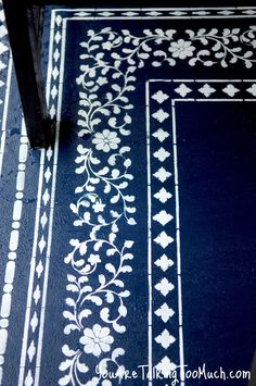 "Morrocan style ""rug"" - painted finish for outside floor. (would also work well inside on floor-boards)stenciled concrete Painted Rug, Painted Floors, Outside Flooring, Painting Concrete, Painted Patio Concrete, Painted Decks, Stencil Concrete, Faux Painting, Stained Concrete"