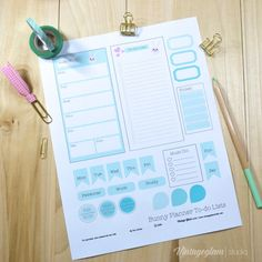 Mint Bunny Planner To-do-list | Free printable, for personal use only.