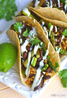 Vegan eggplant, asparagus, and black bean tacos. This sounds DELICIOUS.