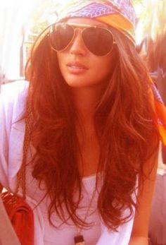 scarf, aviators and beach #hair
