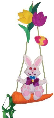 In the Breeze AV-1140 Bunny Swingerz Outdoor Hanging Decor by In the Breeze. $17.99. There is a snap swivel attached for easy hanging. The Bunny is on a carrot swing He will rock back and forth In the Breeze. Durable weather resistant polyester fabric. 3d windsocks have been stuffed in just the right places with polyester fill for a cute 3d effect. Detailed applique design with embroidery detail. Watch the Bunny Swingers from In the Breeze rock back and forth in the b...