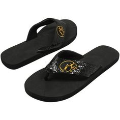 Iowa Hawkeyes Ladies Black Sequin Strap Flip Flops #FanaticsSummerWishList