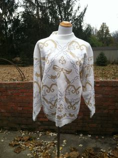 Vintage Metallic Jacquard Knit Oversized Bow by PDeeVintage, $8.49